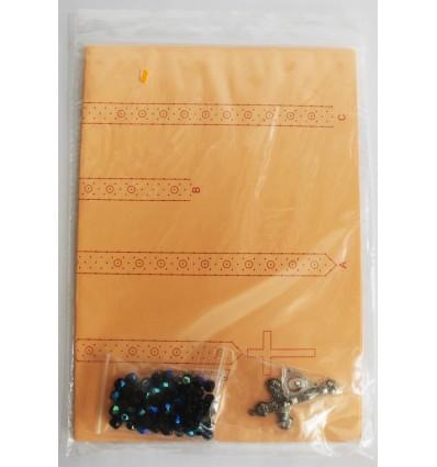 Rosario cristal 6mm negro con reflejos azules