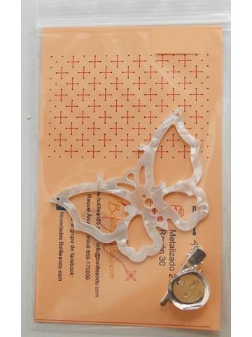Broche de mariposa nacarina blanca