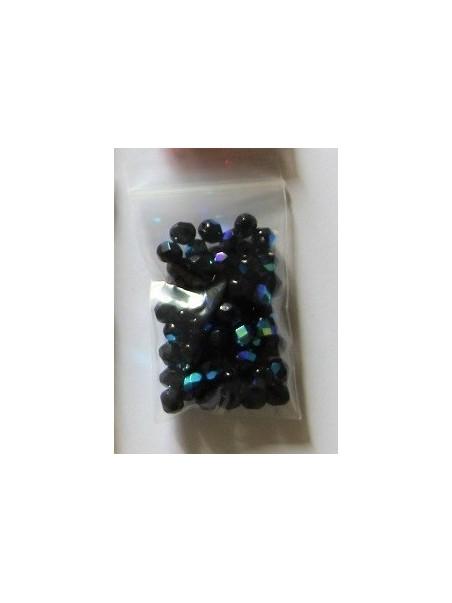 Cristal facetado negro con reflejos 6mm (60 u)