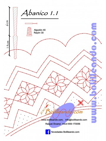 Patrón 1.1  para varillas de 21 cm  (15cm+6cm )