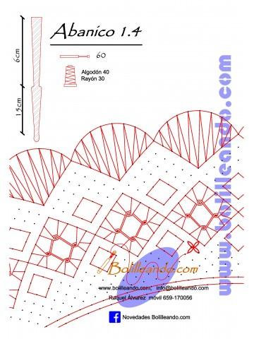 Patrón 1.4  para varillas de 21 cm  (15cm+6cm )