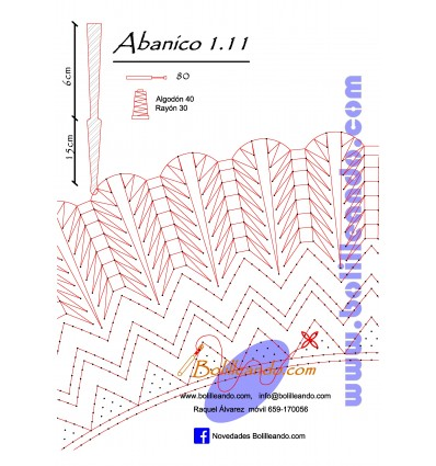 Patrón 1.11 para varillas de 21 cm  (15cm+6cm )
