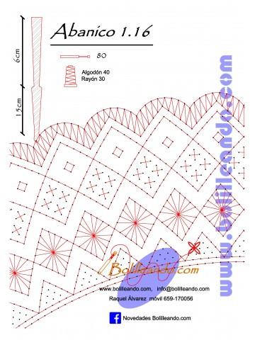 Patrón 1.16 para varillas de 21 cm  (15cm+6cm )