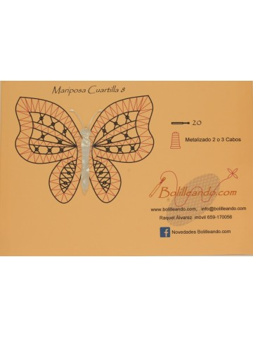 Mariposa 10cms color blanco modelo 8