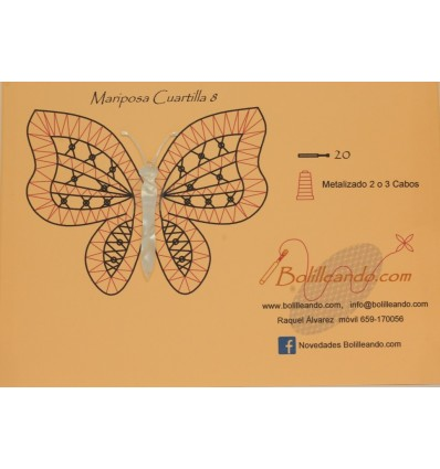 Mariposa 10cms color blanco modelo 8