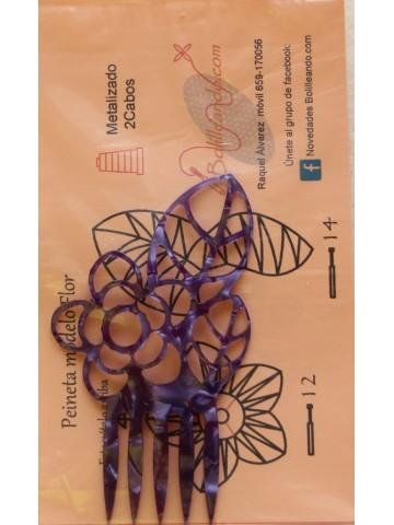 Peineta flores morada con patrón.
