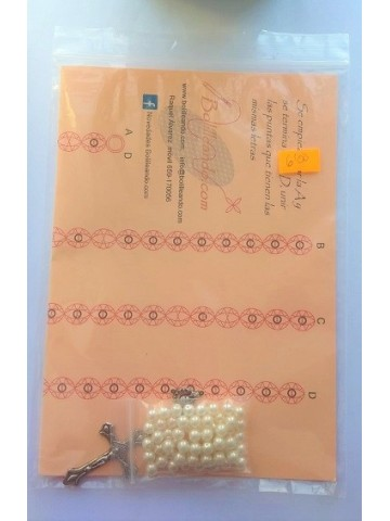 Rosario cristal 6mm perla Blanca