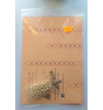 Rosario cristal 6mm perla barroca crudo